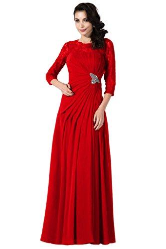 Gorgeous Bride Elegant Lang Aermel A-Linie SchlitzChiffon Spitze Brautmutterkleid Abendkleider Ballkleid Rot