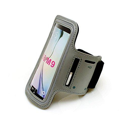System-S Sportarmband Fitness Laufen Biking Armband Neopren Tasche Hülle Cover in grau für Samsung Galaxy S6