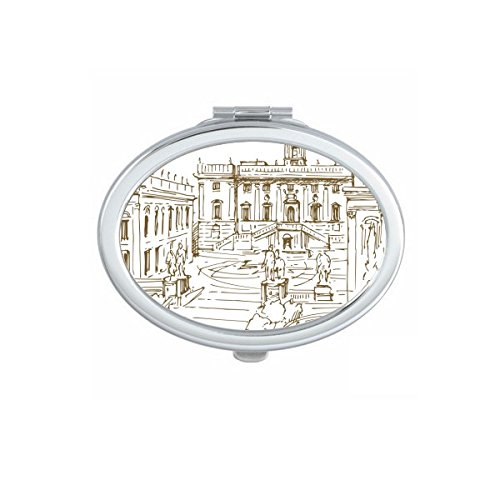 DIYthinker Fontana di Trevi Rom Fontana Zeichen Muster Oval Compact Make-up Taschenspiegel Tragbare Nette kleine Handspiegel -