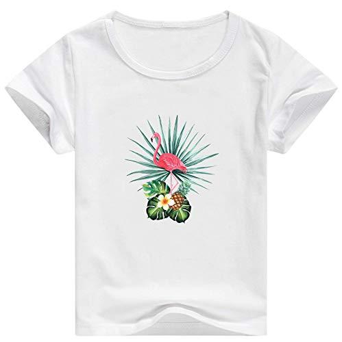 �dchen weichen Sommer Baumwolle Kurzarm Kleider T-Shirt lässig Karikatur Flamingo Tee ()