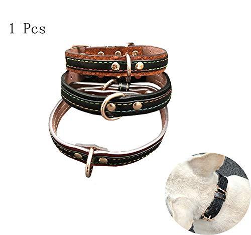 ALiYangYang Weiches, verstellbares, gepolstertes Hundehalsband aus Leder mit D-Ring-Personalisierung und gravierten Hundehalsbändern für kleine, mittelgroße und große Hunde,Black,S (Hund Gravierten Kragen)