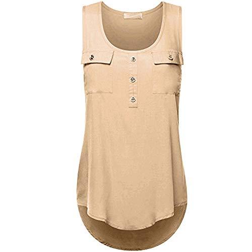 EUTUOPU Tank Tops, Women T Shirt V Neck Ladies Big Size Loose Sleeveless Cross Back Chiffon Gym Holiday Vest Top(Khaki Bb) Round Rolling Pin
