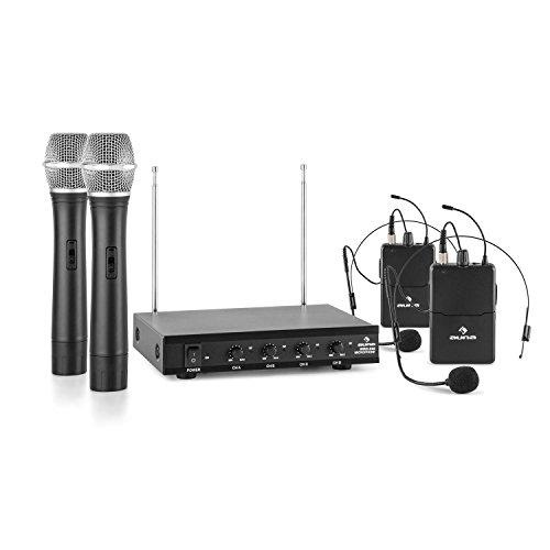 auna VHF-4-H-HS • 4-Kanal Funk-Mikrofon System • VHF-Funkmikrofon Set • 2 x kabelloses Headset Mikrofon • 2 x kabelloses Handmikrofon • 50 m Reichweite • Lautstärkeregler • Klinken-Ausgänge • schwarz