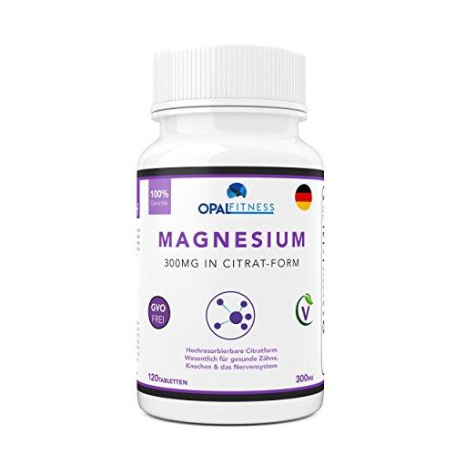 Magnesium Citrat Tabletten   300mg Formel mit hoher biologischer Verfügbarkeit   Ergänzungsmittel für gesunde Zähne, Knochen, Nervensystem und sportliche Leistung   120 Tabletten   OSHUNhealth (Kautabletten Kalzium)