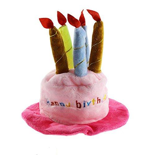 Kaisir Cappello di compleanno del cane con la torta le candele Design Party Costume Accessorio Copricapo blu (un formato misura la maggior parte) (Rosa)