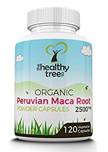 Raw ORGANIC 2500mg Maca Powder Capsules | Premium Quality Superfood, Suitable for Vegetarians and Vegans | High in Vitamin B1, B2, B6, Calcium, Iron and Zinc | UK Organic Certified | 120 Maca Root Capsules by TheHealthyTree Company