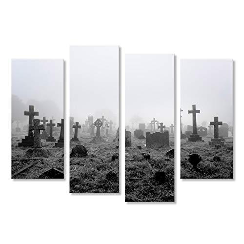 islandburner, Bild auf Leinwand Gespenstischer Nebel Alter Friedhof Halloween Hintergrund Wandbild Poster Leinwandbild