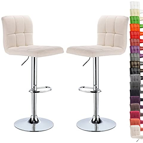 WOLTU BH32cm-2-a Set of 2 Linen Swivel Bar stools with Backs and Footrest Breakfast Kitchen Chair Stools Height Adjustable from 60 to 82cm,Cream