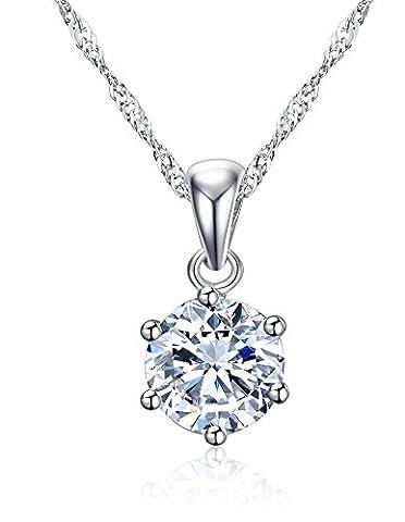 Vnox 925 Sterling Silver 6-Prong princesse Cut Cubic Zirconia collier pendentif pour les femmes filles