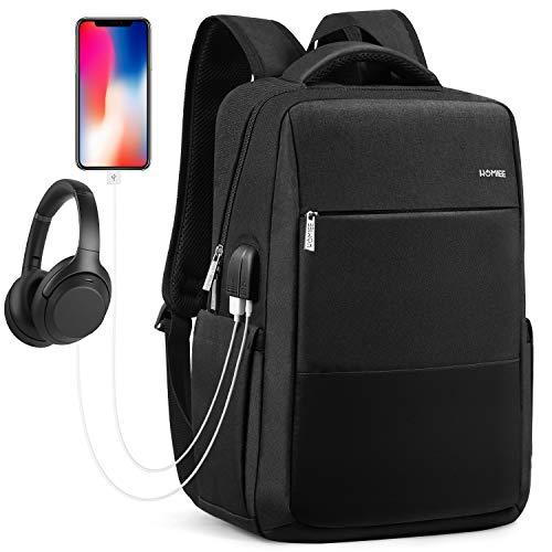 HOMIEE Business Laptop Rucksack Herren, Schulrucksack Notebook Rucksack mit USB Ladeanschlus für 15.6 Zoll Laptop, für Herren, Damen, Arbeit, Schule, Reisen (schwarz)