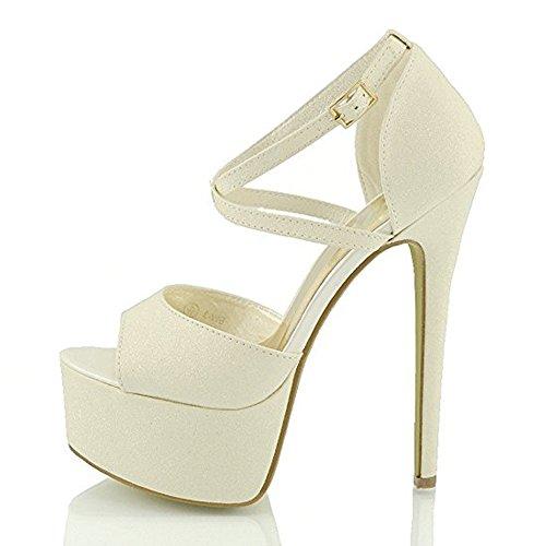 Damenschuhe Peep Toe Sandalen Criss Cross High Heels Stiletto Schnalle mit Plateau Milch Weiß