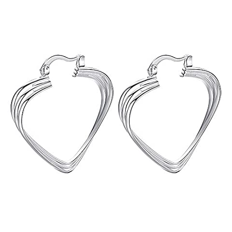 nykkola Fashion Beautiful Jewelry Coeur Plaqué Argent Sterling 925Boucles d