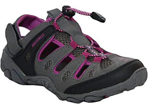 Northwest Territory Womens Ladies Girls Athletic Outdoor Walking Hiking Sports Sandals Trainers Shoes UK Sizes 4-8 (UK 5, Grey/Purple)