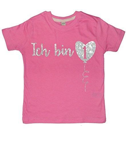 80-86 Mädchen Rosa T-Shirt 'Ich bin 1' with Silver Glitter Print (Glitter T-shirt Print)