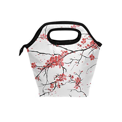 hunihuni Kirsch-Sakura-Muster, isolierte Thermo-Lunch-Kühltasche, auslaufsicher, Bento-Box, Handtasche, Lunchbox mit Reißverschluss für Schule, Büro, Picknick