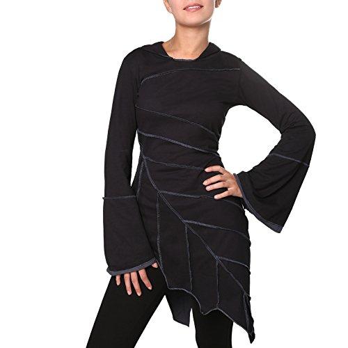 KUNST UND MAGIE Zipfeliges Kleid in Blattform mit Zipfelkapuze Fairy Goa Pixie, Farbe:Schwarz/Grau, Größe:42 - Pixie Grau