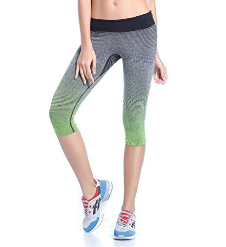 QUTOOL Women's Sports Pants Yoga Leggings Tights Workout Pant Running Pant Green