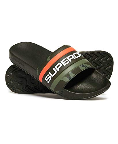 Superdry Bade-Sandalen Herren Retro Colour Block PO Khaki Classic Camo Hazard Orange, Größe:L