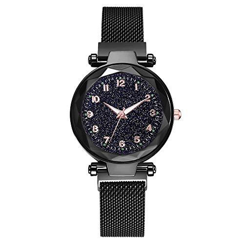 DEAR-JY Watch Damen, Damen Sternenhimmel Uhr, mit Magnetband und Armband, lässig wasserdicht Quarz einzigartige Uhr,Black