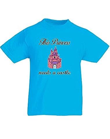 This Princess Needs a Castle, Enfant T-shirt imprimé - Azur/Noir/Transfert 9-11 Ans