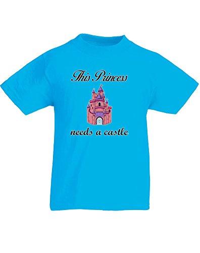 This Princess Needs a Castle, Kind-druckten T-Shirt - Azurblau/Schwarz/Transfer 9-11 (Tiara Ariel Kind)