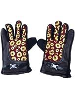 Lady Fleece Flower Prints Full Fingers Pullover Warm Gloves Pair