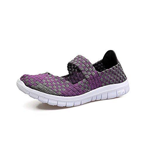 QANSI Scarpe Sportive da Donna Sneakers Leggere Scarpe in Tessuto Multicolore Sneakers da Viaggio Traspiranti Porpora