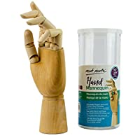 MONT MARTE Mannequin Hand - Wooden Model Hand - Left Hand - 25,4 cm - Flexible Wooden Art Hand Manikin, Ideal as a Model for Drawing - Perfect Drawing aid for Beginners, Professionals and Artists