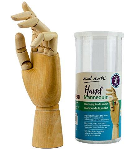 MONT MARTE Gliederhand - Modellhand aus Holz - linke Hand - 25,4 cm - Flexible Holzhand, ideal als Model zum Zeichnen