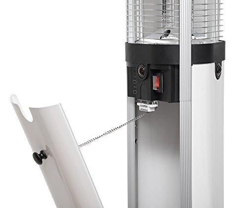 Carbon-Standheizstrahler, Heizsäule 2700 Watt (3×900) mit Beleuchtung und Fernbedienung, Infrarot Heizstrahler - 5