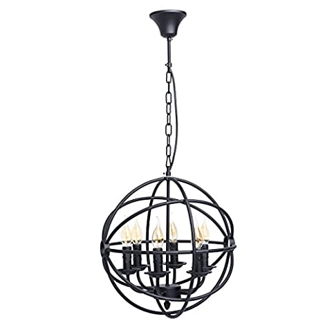 Lustre suspension exceptionnelle de style rustique et antique en fér forgé décorée avec cercles en fer couleur noir, pour haut plafond ampoules non incluses 6 x 60W E14 230V