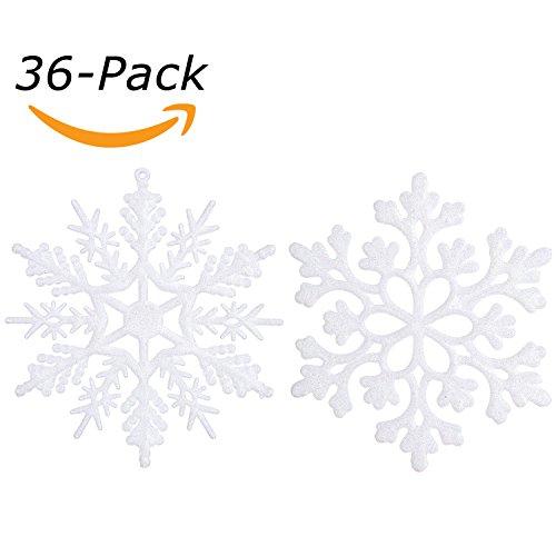 rnamente Schneeflocken aus Kunststoff, Glitzer, Dekorationen, ca. 10 cm, Set von 36 weiß (Schneeflocke Kunststoff)