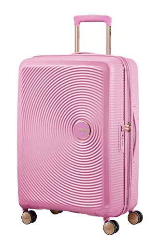 American tourister soundbox spinner medium expandable bagaglio a mano, 67 cm, 81 liters, rosa (pearl pink/gold)