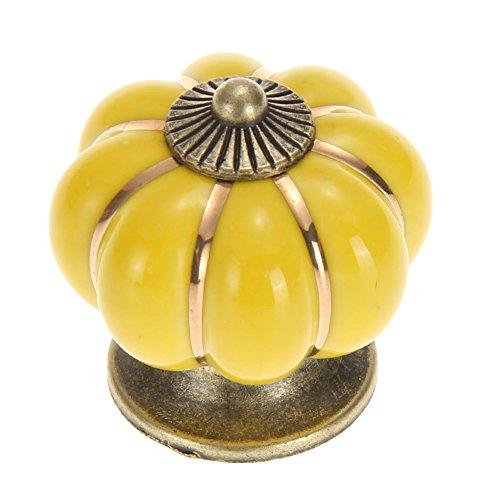 Starnearby vintage maniglia di sostegno zucca in ceramica porta manopole del cassetto armadio da cucina pull, yellow, 30.00 * 30.00 * 30.00
