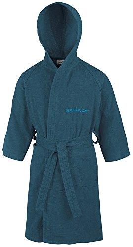 Speedo Unisex-Kinder Microterry Bademantel, Blau (Marineblau), Gr. 12 Jahre