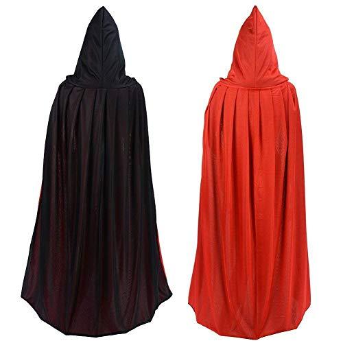 syzma wendbar schwarz und rot Halloween Mantel Umhang Teufel Vampir Sorcerer Erwachsene Kind Cosplay Kostüm tragen Bademantel Masquerade Weihnachten Party Halloween Party Kostüm, Hoodie, Hoodie, 150cm lang.