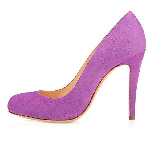 EDEFS Femmes Artisan Fashion Escarpins Bout Ronds en Suède Couleurs Vives Chaussures à talon de 100mm Bleu Pourpre
