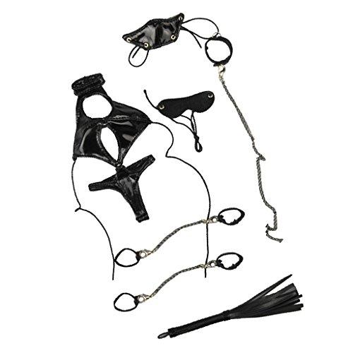 Baoblaze 1/6 Schwarz Kunstleder Frauen Bodysuit Dessous Kleidung Set Für 12