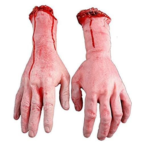 Gefälschte Menschliche Abgetrennte Hände, Beängstigende Realistische Gebrochene Herausgestellte Knochen-Handarme, Halloween-Parteiinnenstützen Im Freien Und Rollenspieldekoration,A (Abgetrennte Hand Kostüm)