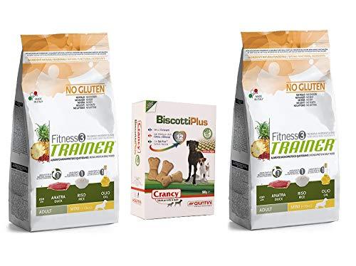 Trainer Fitness 3 No Gluten 2 Sacchi da 2 kg Mini Adult Anatra Riso e Olio monoproteico Piu Omaggio Biscotti Plus crancy, crocchette per Cani Piccola Taglia