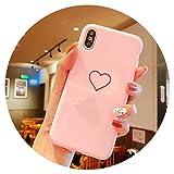 Coque Cœur pour iPhone X XR XS Max Coque Brillante à Motif TPU Souple Coque Cases...