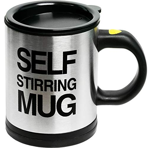 Self Stirring Coffee Mug, 8 oz Stainless Steel Automatic Self Mixing & Spinning Cup by Chuzy Chef -