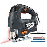 Seghetto Alternativo, TOPVORK 800W 3000Rpm Seghetto con 7 velocità variabile, guida laser, 3 lame,...