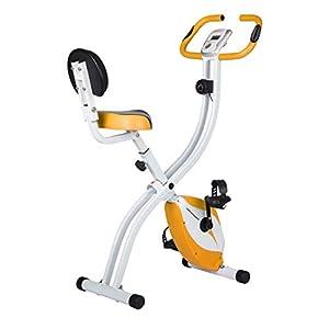 Ultrasport Trainer da Casa F-Bike 200B con Sensori delle Pulsazioni, con Schienale, Ripiegabile, Arancia