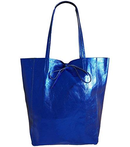 Damen Echtleder Shopper mit Innentasche in vielen Farben Schultertasche Henkeltasche Metallic look (Royalblau Metallic) (Damen Echte Jeans)