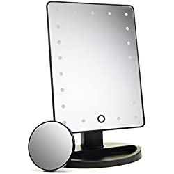 21 LED Lighted Makeup Mirror / Vanity Mirror with Touch Screen Dimming, Detachable 10X Magnification Spot Mirror, 180° Swivel Rotation, Portable Convenience and High Definition Clarity Cosmetic Mirror
