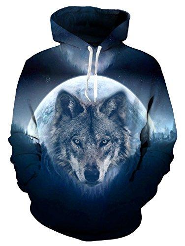 uideazone Hipster Mens Hoodie 3D Print Wolf Langarmshirt Mantel Sportswear Sweatshirts (Kapuzen-print T-shirt)