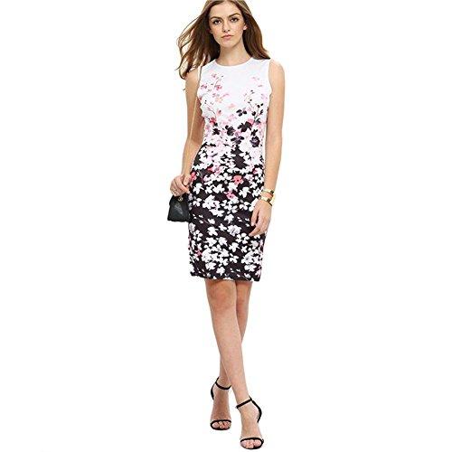 ALAIX Damen Blumendruck Rundhals Ärmelloses alltägliches elegantes Kleid mit superem Passform Weiß-XL