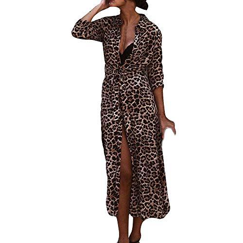 Longra Herbstmode Kleider Damen Sexy V-Ausschnitt Leopard Kleider Lang Maxikleid Damen Langarm...