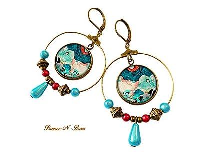 boucles d'oreille créoles rêve marin pendants bronze-n-roses bleu océan mer cadeau